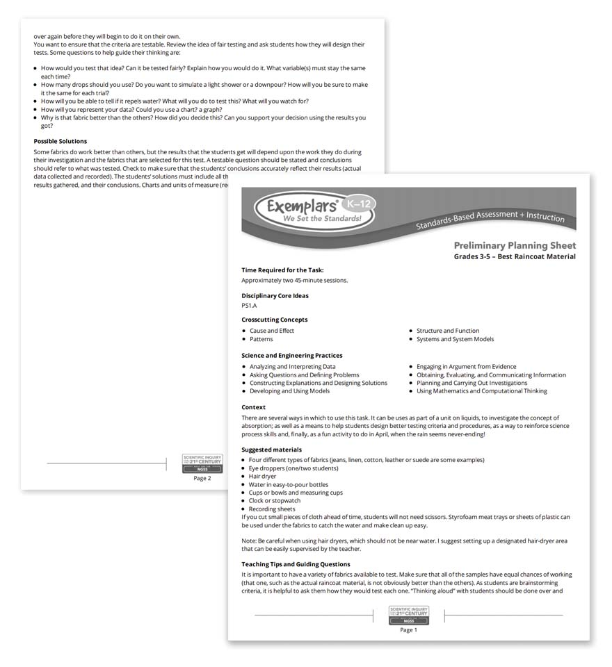 Science Planning Sheets sample