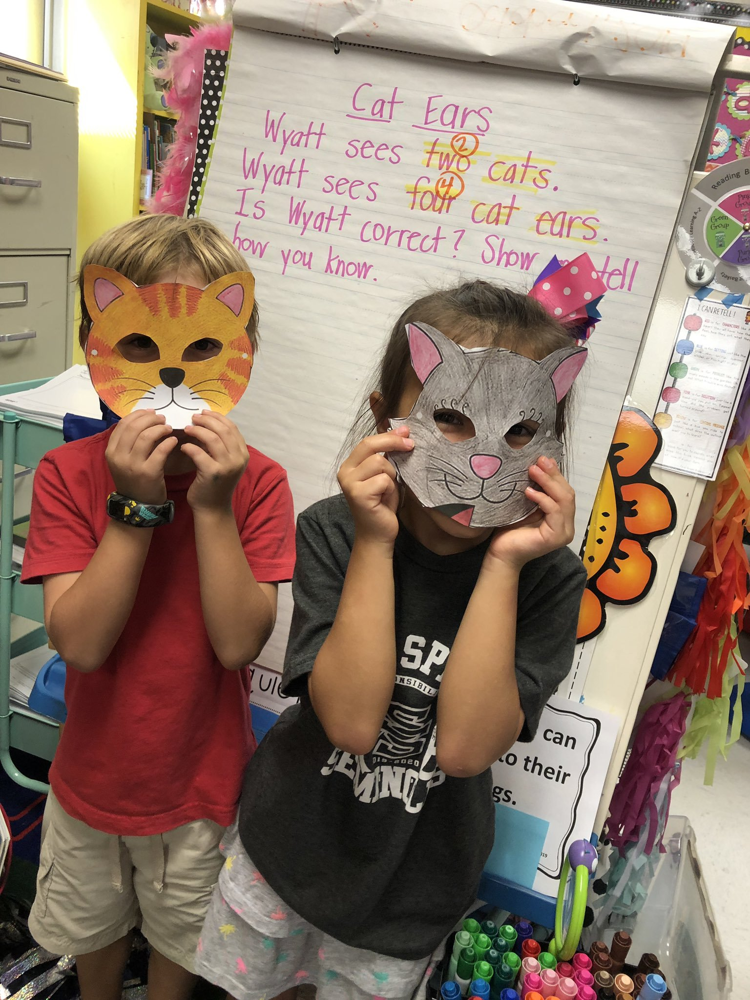 students in home-made masks