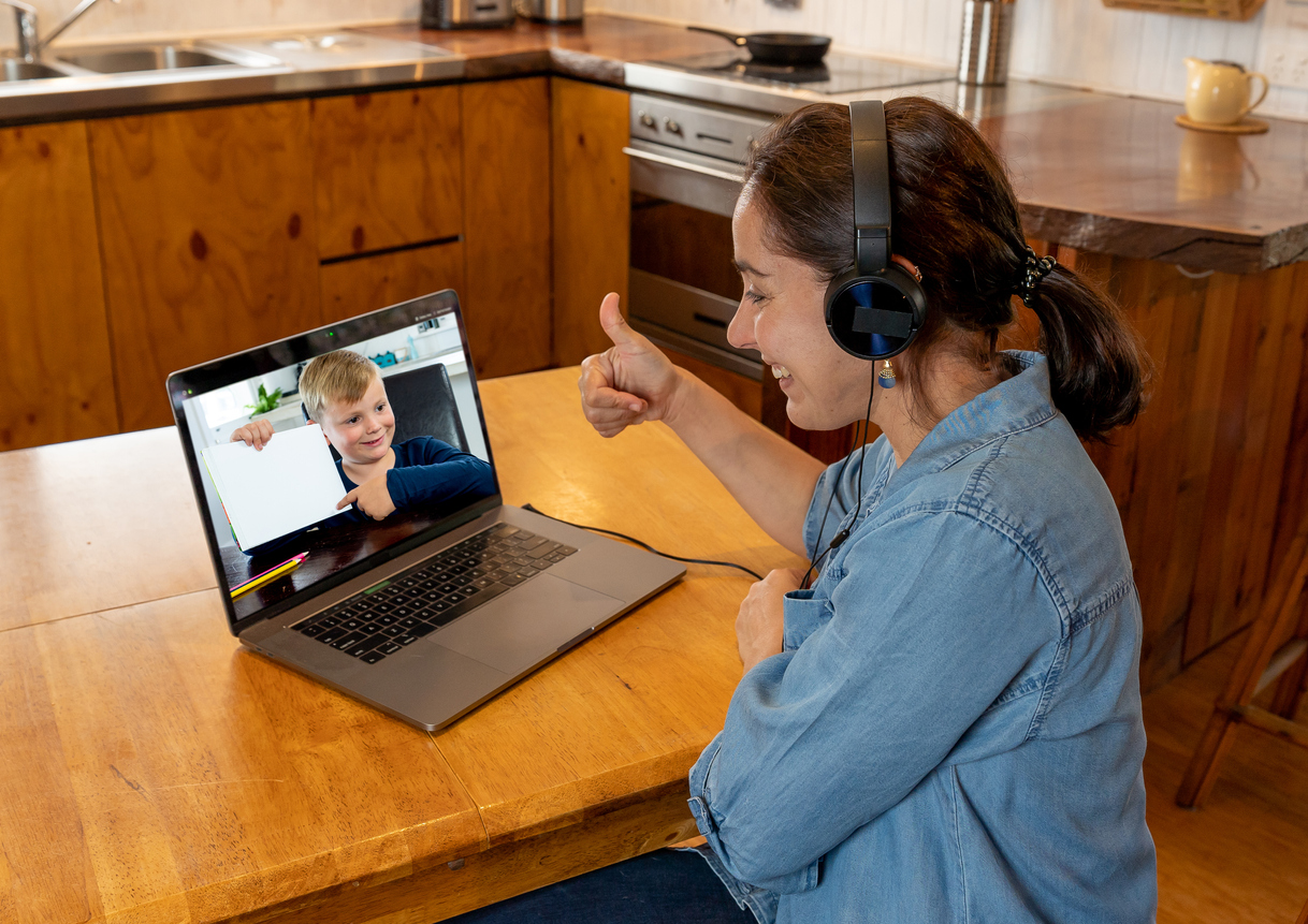 teacher video chatting with student