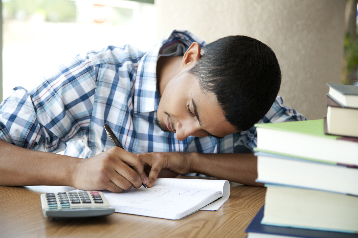 student with calculator